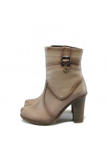 Бежови дамски боти, естествена кожа - всекидневни обувки за есента и зимата N 10007594