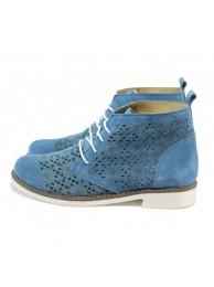 Сини летни дамски боти, естествена кожа -  N 10008488